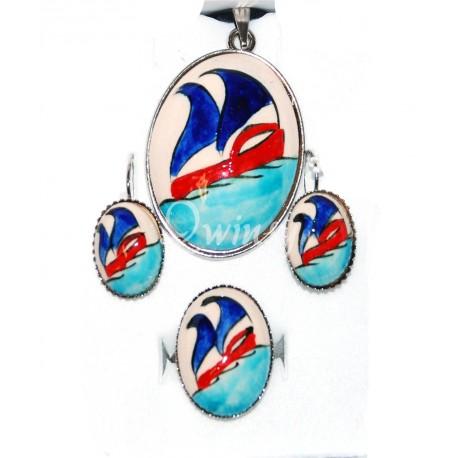 Sets ring,ketting en oorbel combinatie q344 Exclusief design