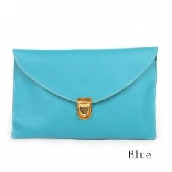 blauwe leer envelope tas